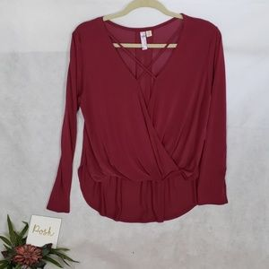 ALYA yoga brand hi low maroon strappy blouse M